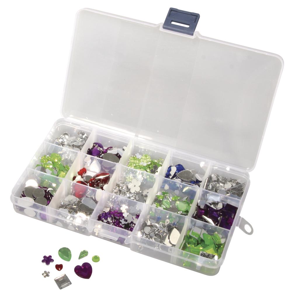 Acryl Strasssteine-Set, versch. Formen + Größen, Box 1000Stück, Farblich sortiert