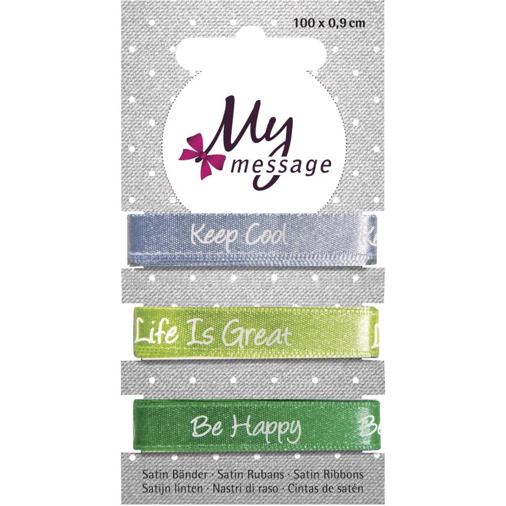 My Message Satin Bänder, 100x0,9cm, SB-Karte 3Stück, blau/grün Töne