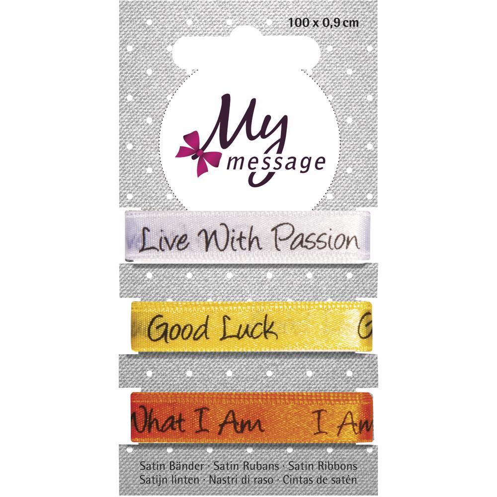 My Message Satin Bänder, 100x0,9cm, SB-Karte 3Stück, weiß/gelb/orange