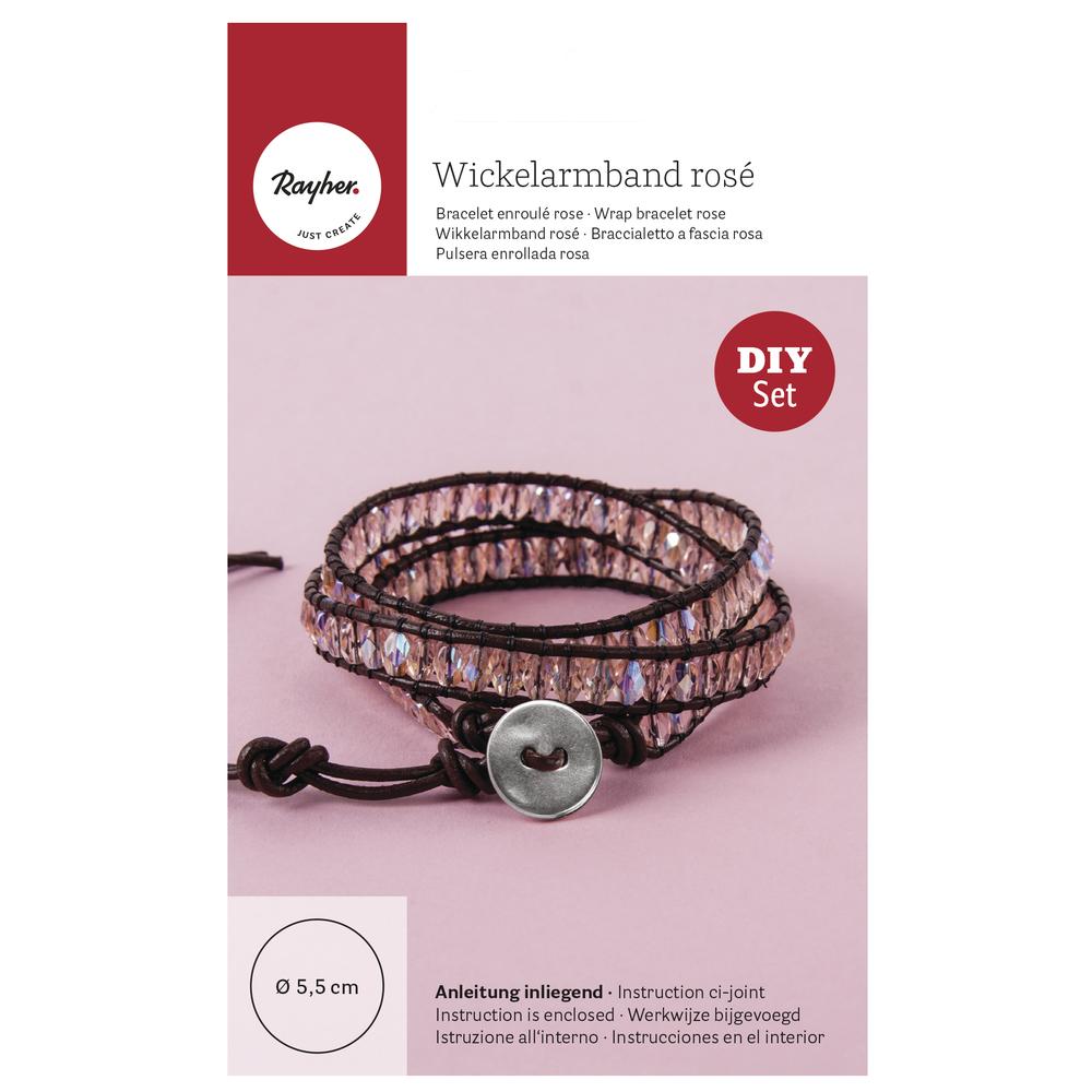 Bastelpackung: Wickelarmband rosé, Set 1Stück