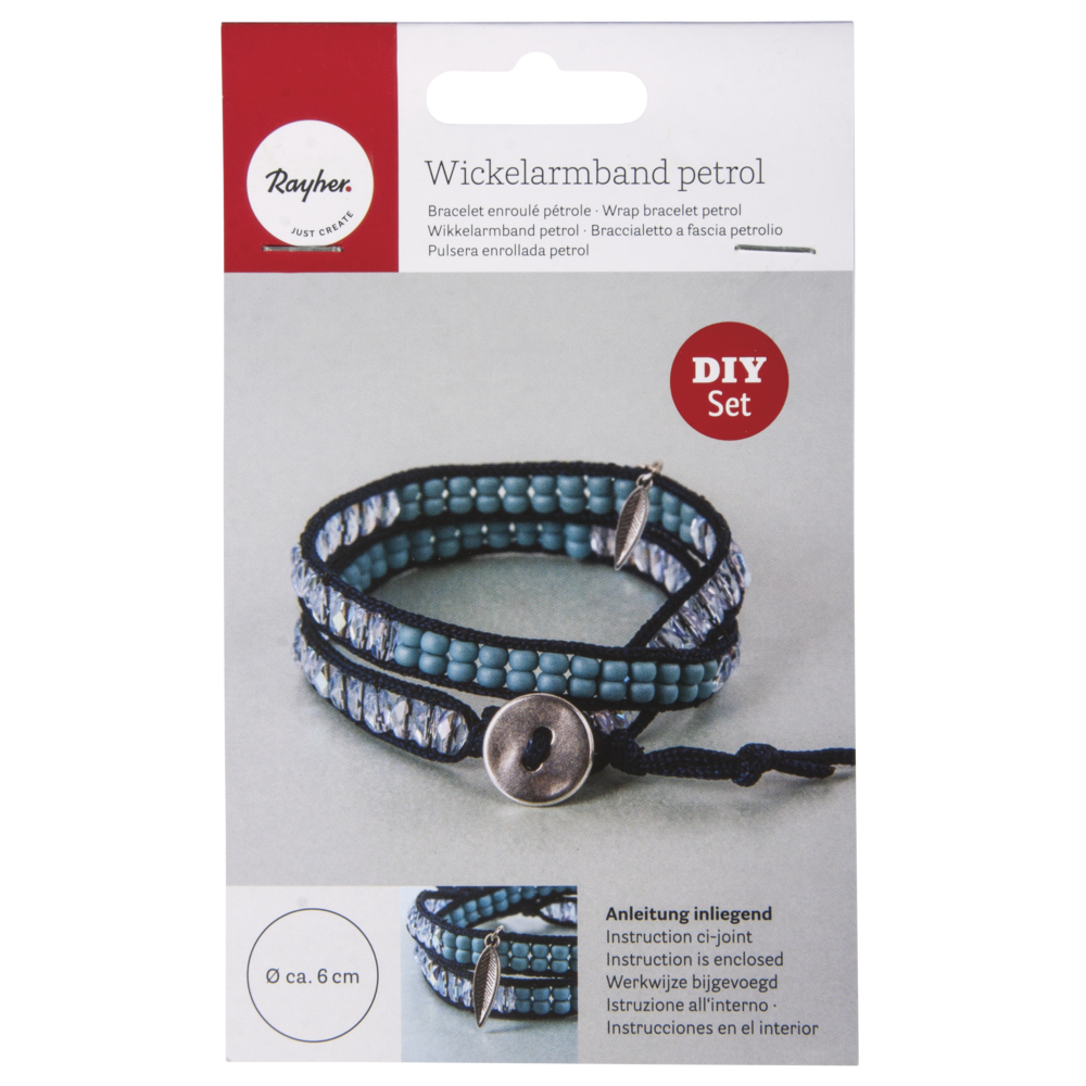 Bastelpackung: Wickelarmband petrol/blau, Set 1Stück
