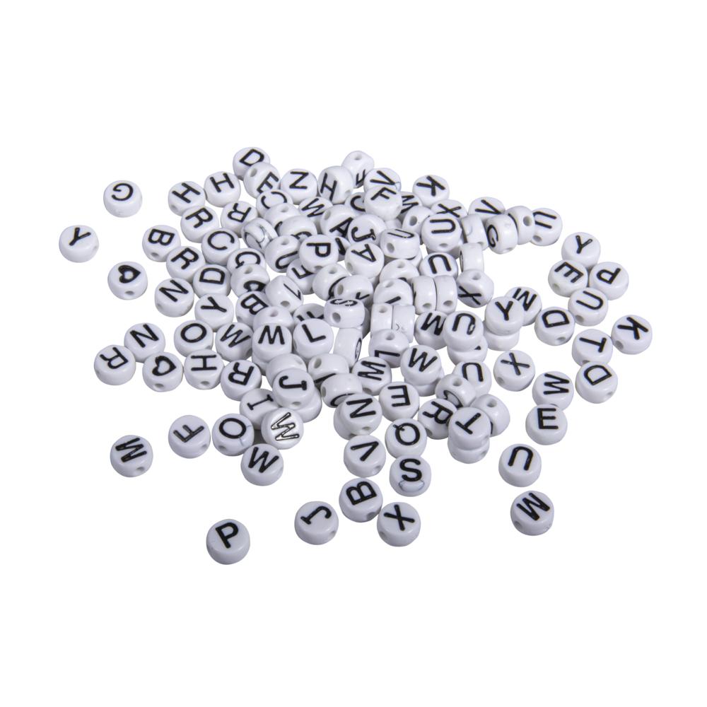 Plastik-Buchstaben-Perlen, 9mm ø, SB-Blister 40g, weiß