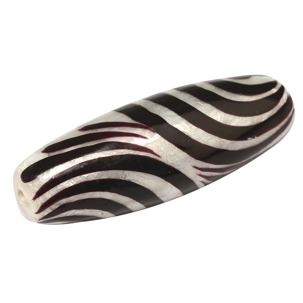 Capiz-Olive, handbemalt, Zebra, 1,8x4,5 cm