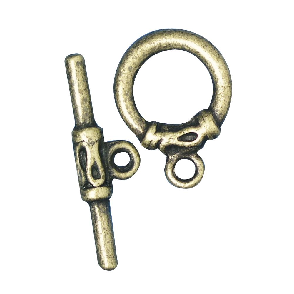 Knebelverschluss, 25mm ø, SB-Btl 1Stück, altgold