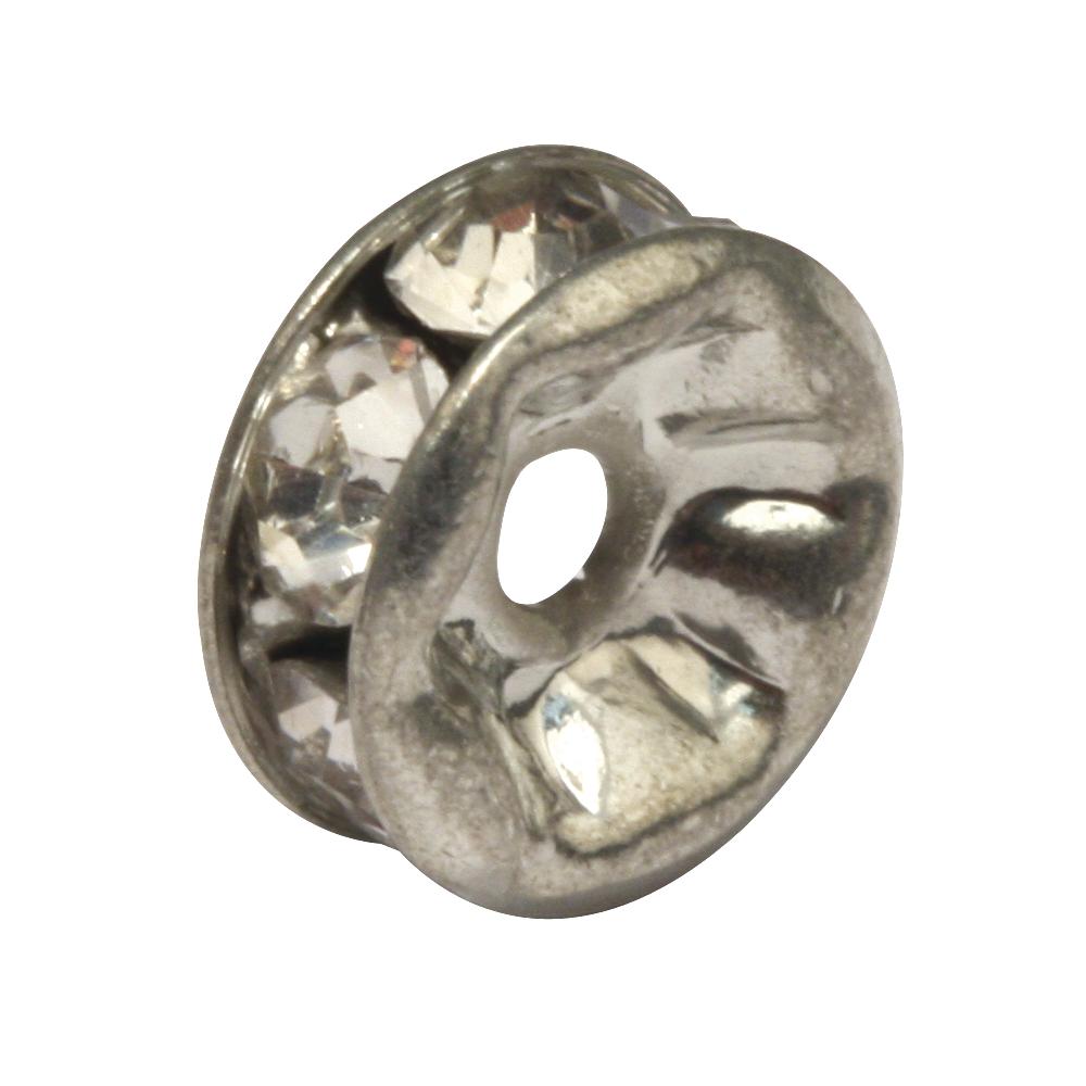 Strass-Rondelle m. Kristallsteine, 6mm ø, SB-Btl 3Stück