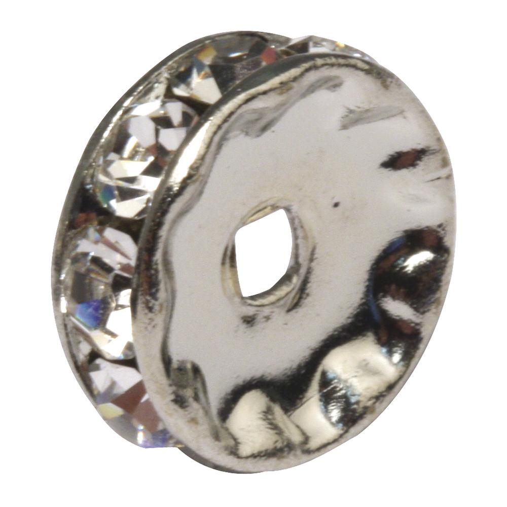 Strass-Rondelle , 10mm ø, m. Kristallsteine, SB-Btl 2Stück