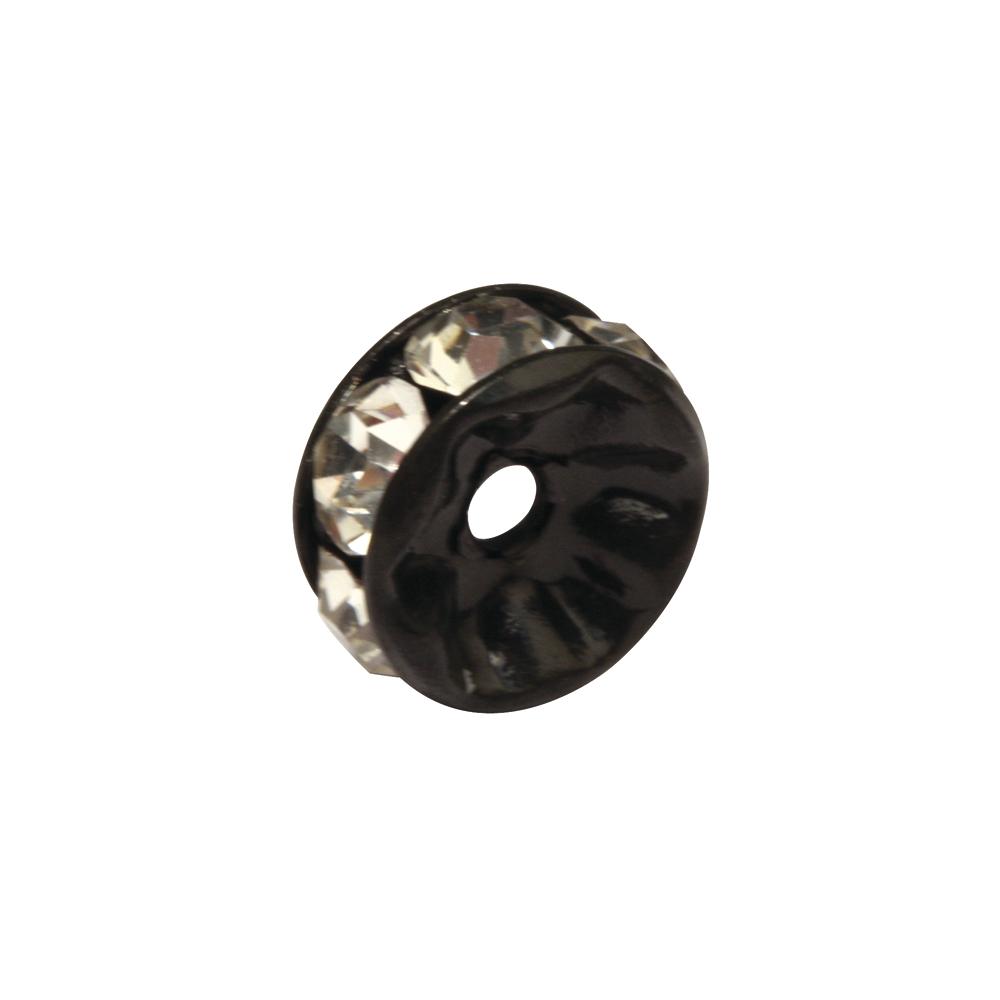 Strass-Rondelle m. Kristallsteine, 4mm ø, SB-Btl 3Stück, schwarz