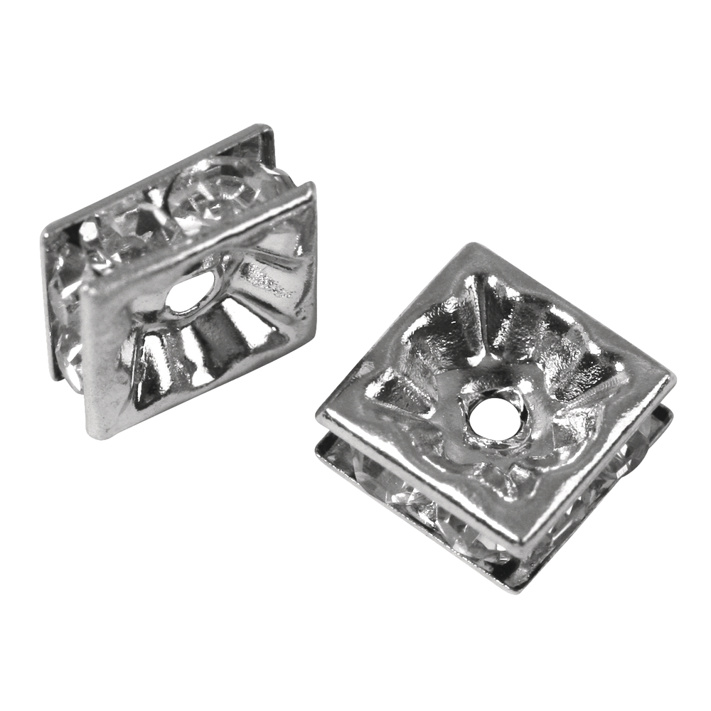 Strass-Quadrat m. Kristallsteinen, 8x8mm SB-Btl 3Stück, platin
