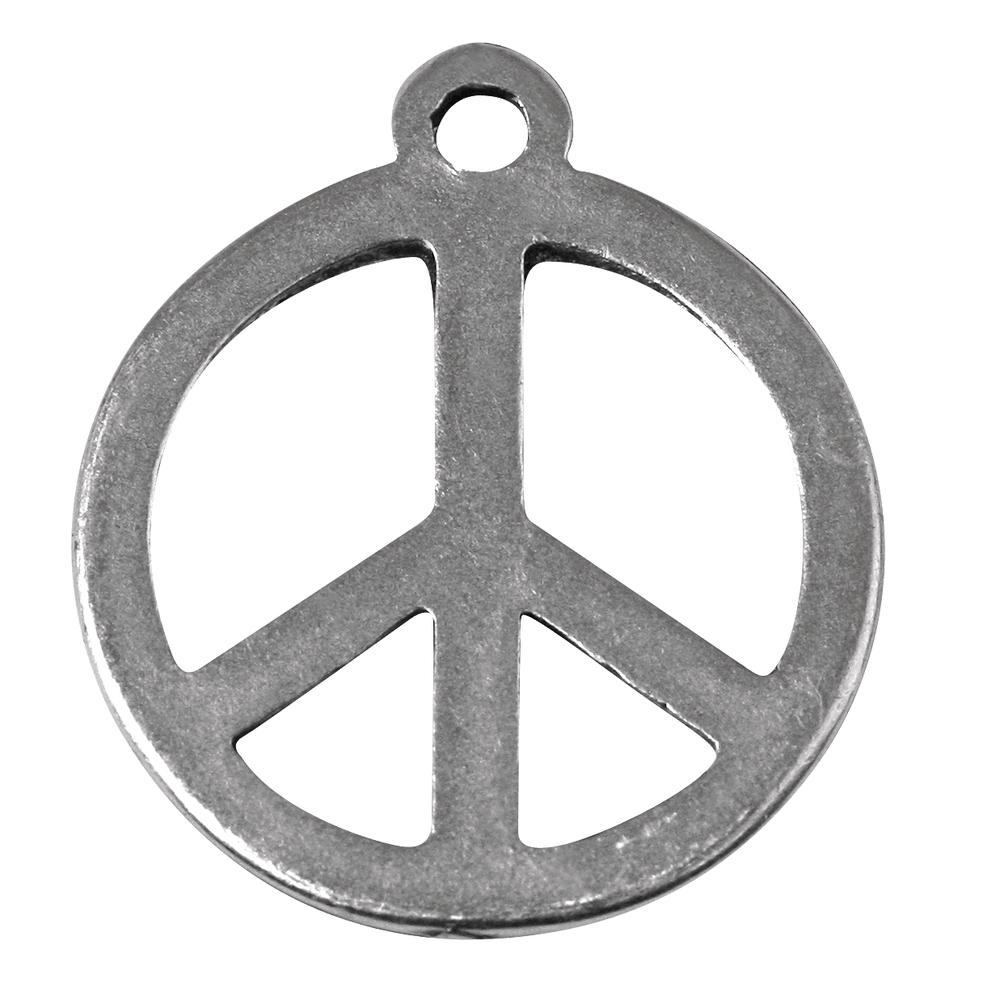 Metall- Anhänger Peace, 24mm ø, Öse 2mm ø, SB-Btl 3Stück, silber