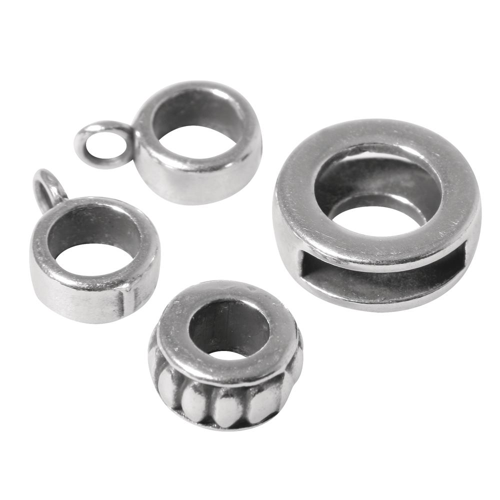 Metall- Zierelemente Freestyle 2, 3 Sorten, SB-Btl 4Stück, silber