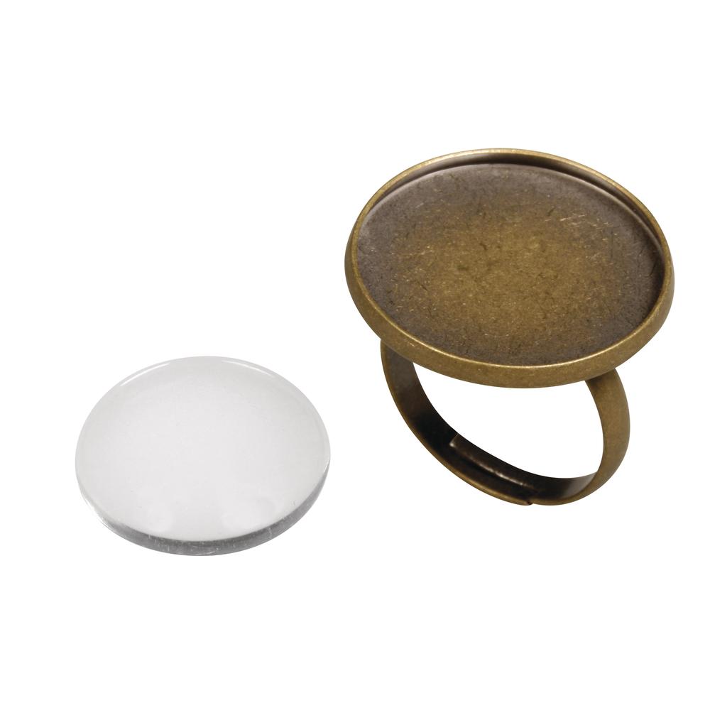 Metall- Fassung: Ring, 2,1cm ø, m. Cabochon, SB-Btl 1Set, altgold