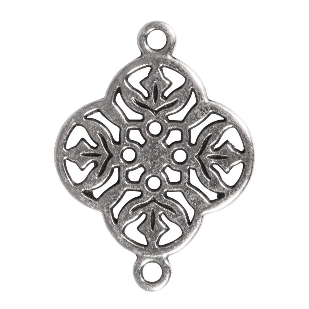 Metall-Zierelement Ornament Blume, 15mm, Ösen 1mm ø, SB-Btl 1Stück