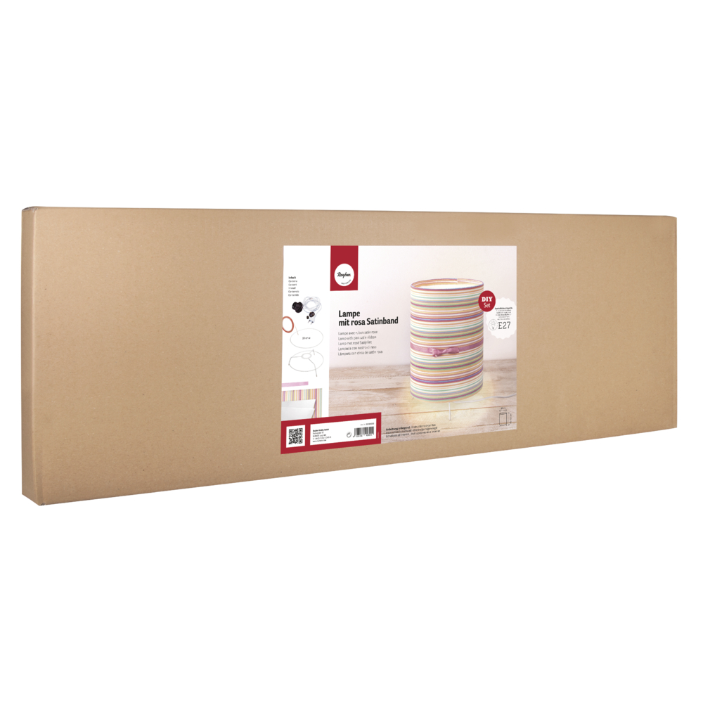 Bastelpackung: Lampe gestreift, 20cm ø, Höhe flexibel 25-50cm, Karton 1Set