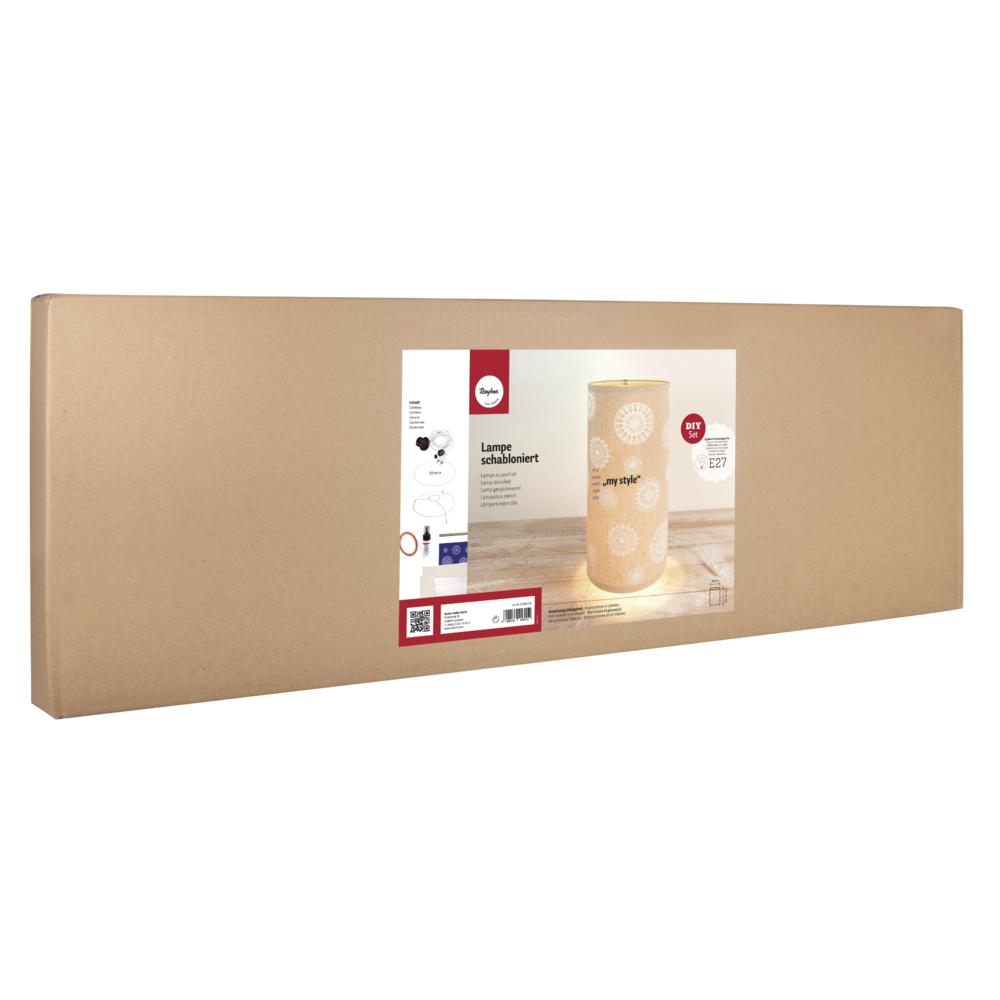 Bastelpackung: Lampe Blumenrosette, 20cm ø, Höhe flexibel 25-50cm, Karton 1Set