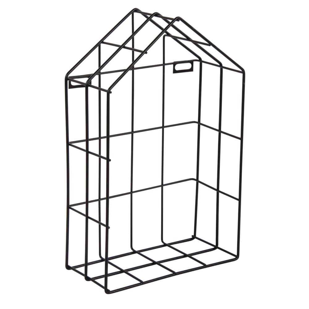Drahtregal Haus, 16x7x25cm, schwarz