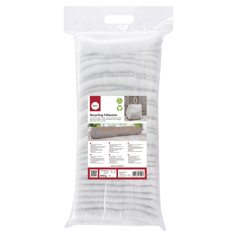 Recycling Füllwatte, in Lagen, aus Polyestermaterial, Beutel 500g