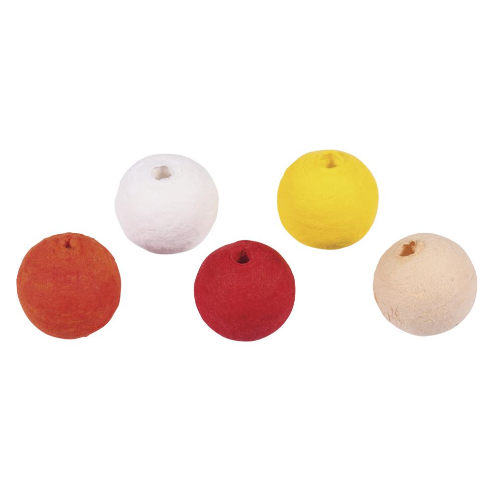 Wattekugeln, 1,8cm ø, farblich sortiert, SB-Btl 25Stück, gelb-rot