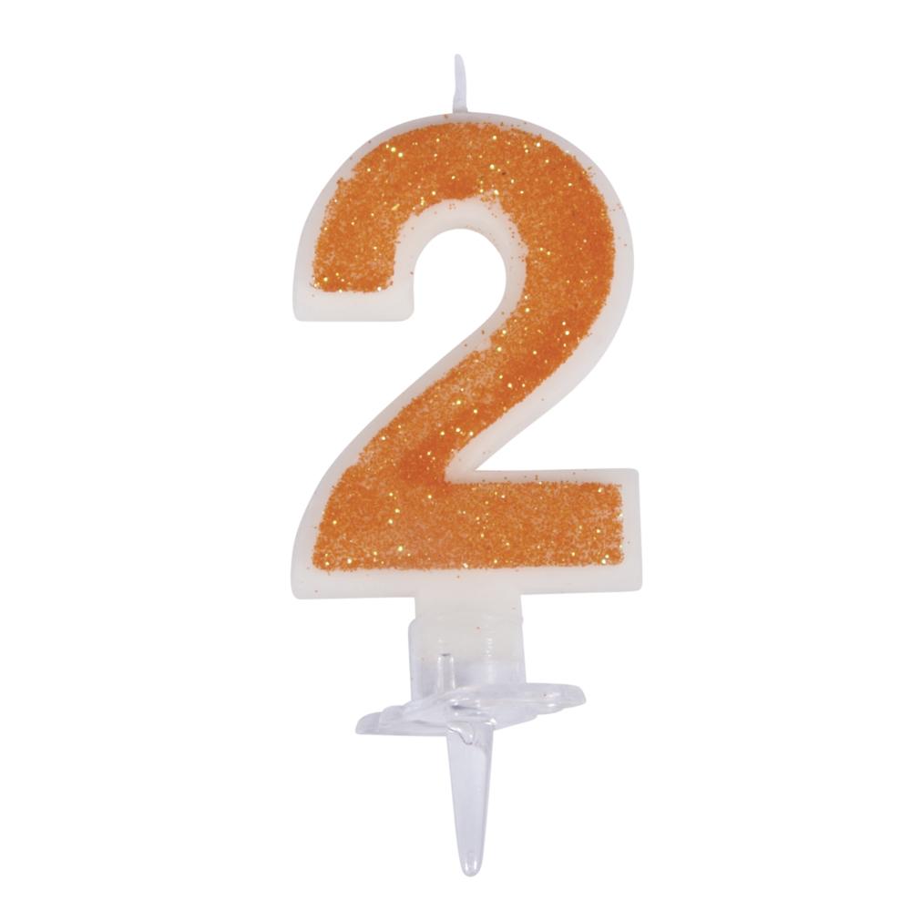 Zahlenkerze 2 mit Glitter und Halter, 10cm, SB-Blister 1Set, orange