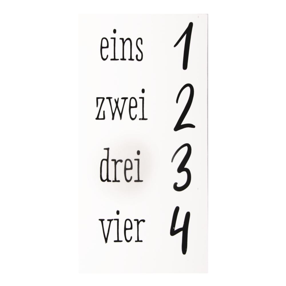 Transferfolie Adventszahlen, 1-4, 1,5-3cm Zahlen, SB-Btl 1Bogen