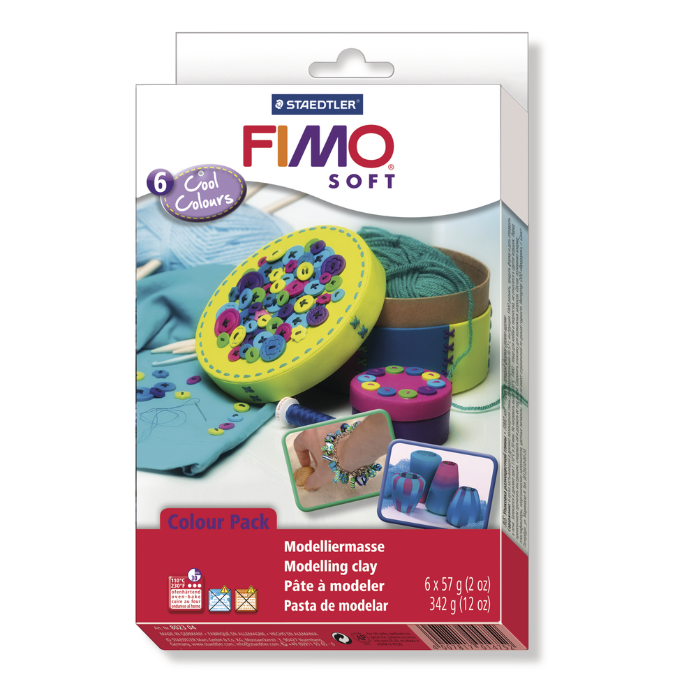 Set: Fimo soft/effect Modelliermassen, Cool Colours, 6x57g, SB-Box