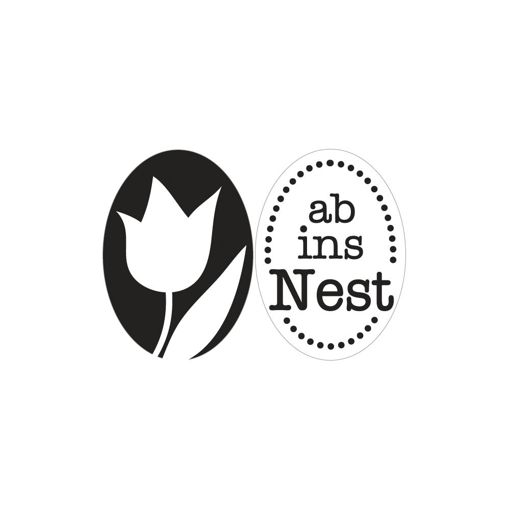 Labels D ab ins Nest+Tulpe, 35x25mm, oval, SB-Btl 2Stück