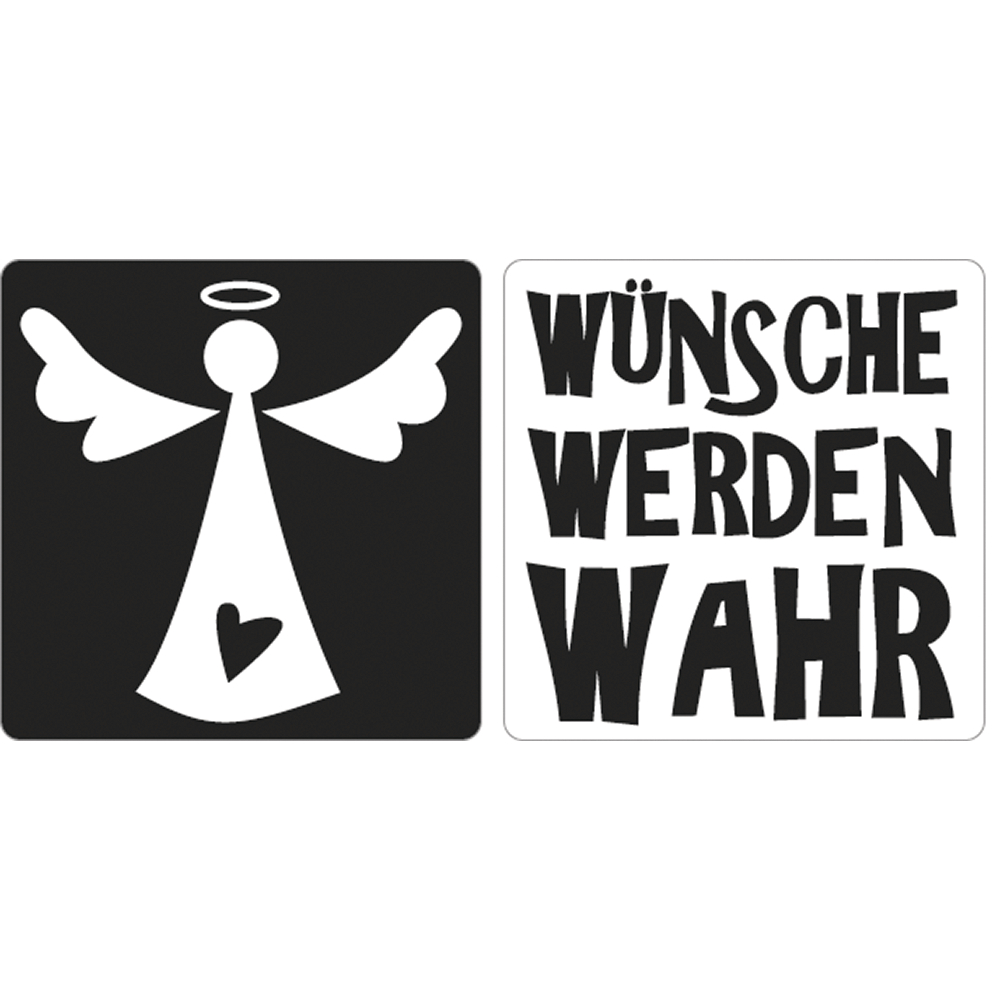 Labels Wünsche werden wahr+Engel, 25x25mm, SB-Btl 2Stück