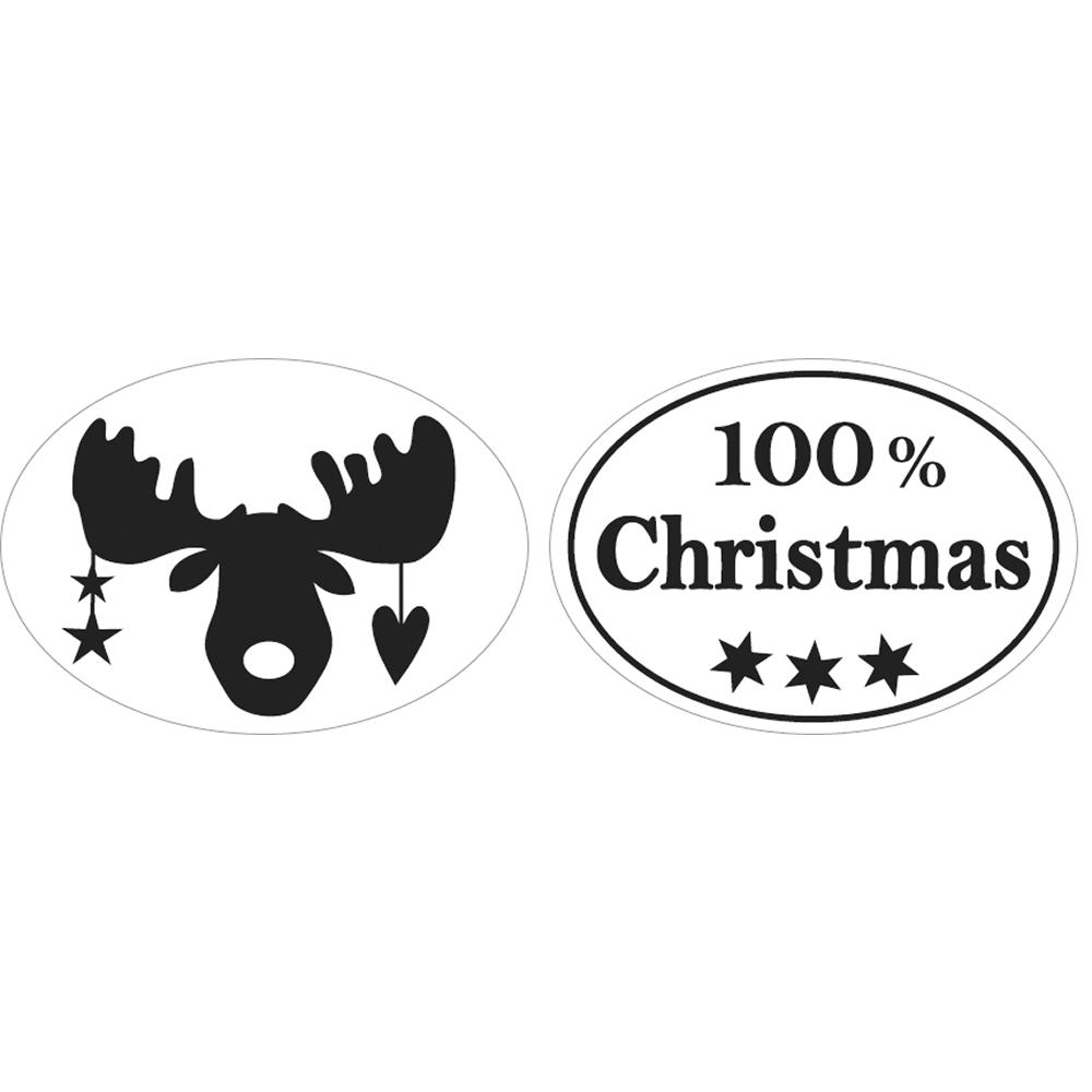 Labels 100% Christmas+Elch, 25x35mm, oval, SB-Btl 2Stück