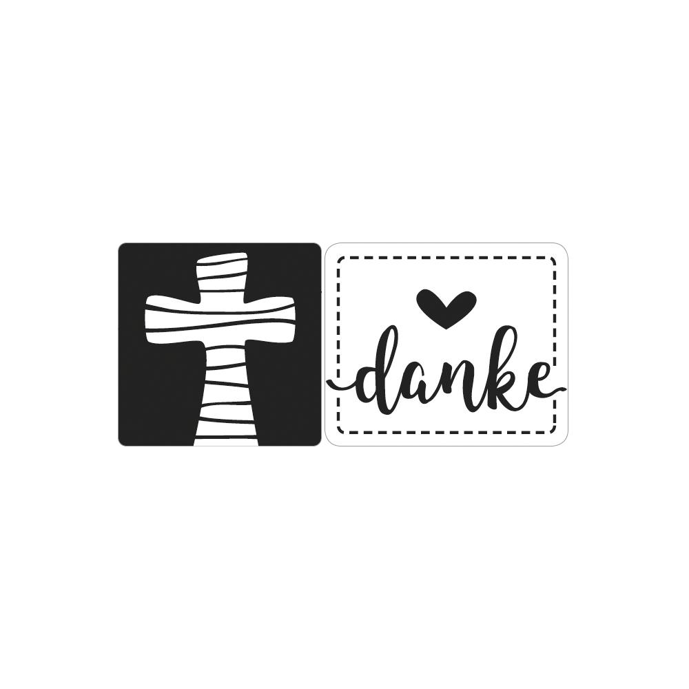 Labels Kreuz +danke, 2,3x2,3cm/2,8x2,4cm, SB-Btl 2Stück