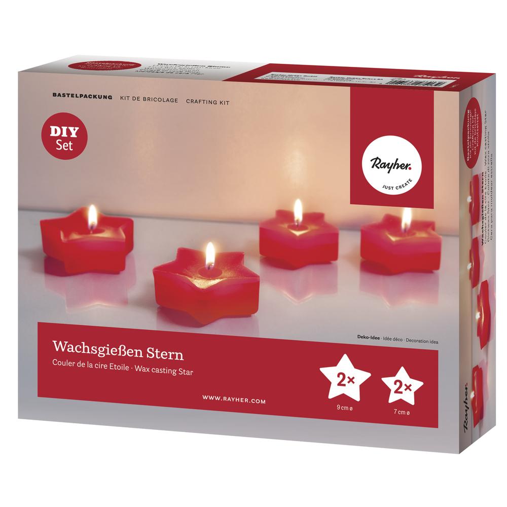 Bastelpackung: Wachsgießen Stern, für 4 Kerzen, Box 1Set