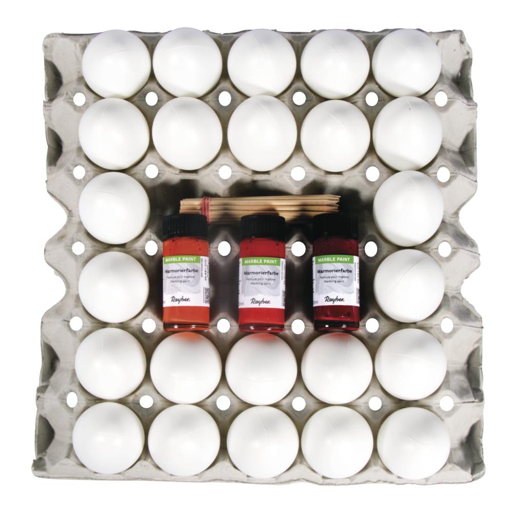 Marmorier Set, 3 Farben, 24 Eier inkl. Zubehör