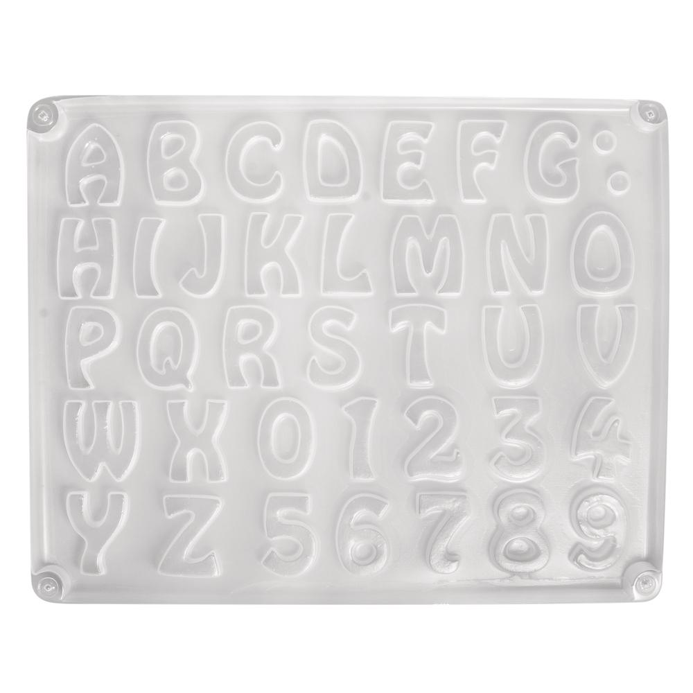 Gießform: Buchstaben/Zahlen, 37 Motive, ca.2-3cm, Größe: 23,2x18,3cm