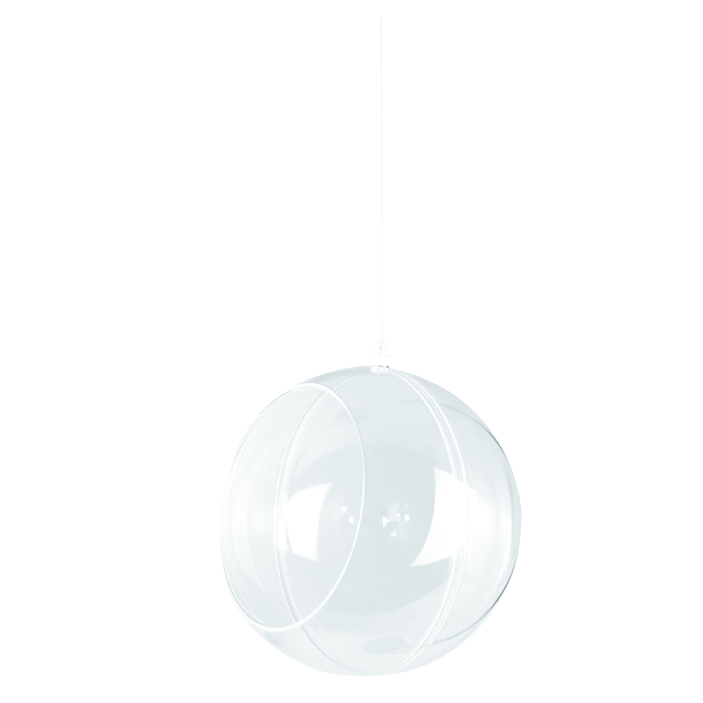 Plastik-Floristik-Kugel, 2tlg., 12 cm ø, kristall