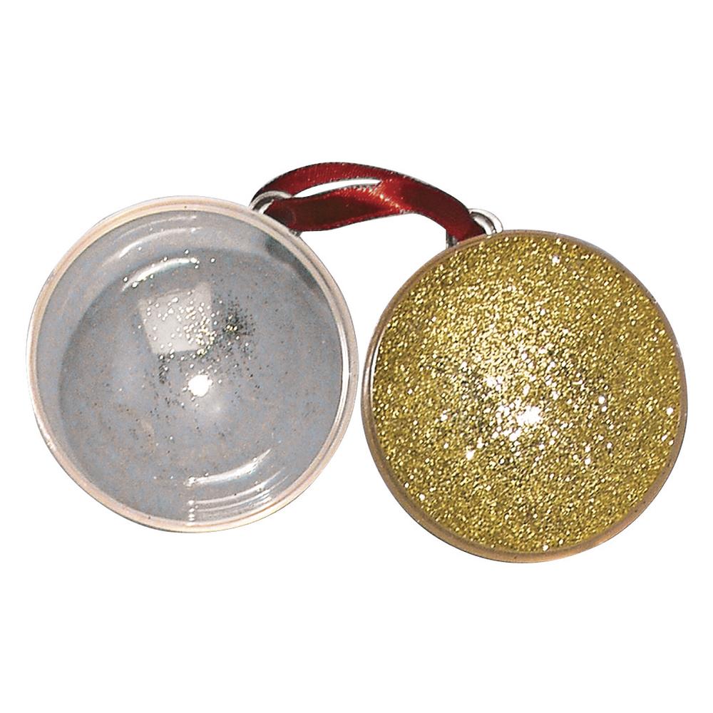 Plastik-Kugel, 2tlg., 6 cm ø, gold