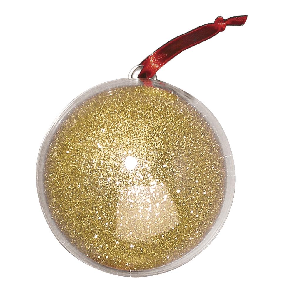 Plastik-Kugel, 2tlg., 8 cm ø, gold