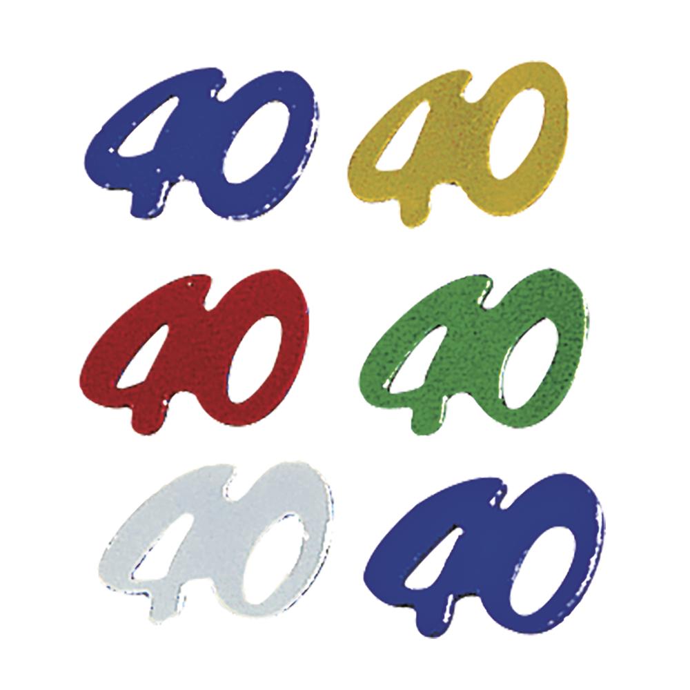 Kunststoff Jubiläums-Pailletten 40, 5 Farben sortiert, SB-Btl 12g, gemischt