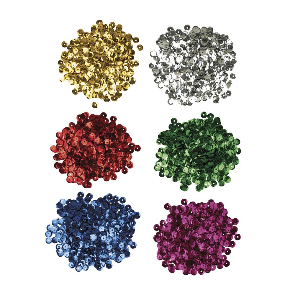 Pailletten-Mix - Basic Farben, 6mm ø, 6 Farben á 7g, SB-Karte 42g