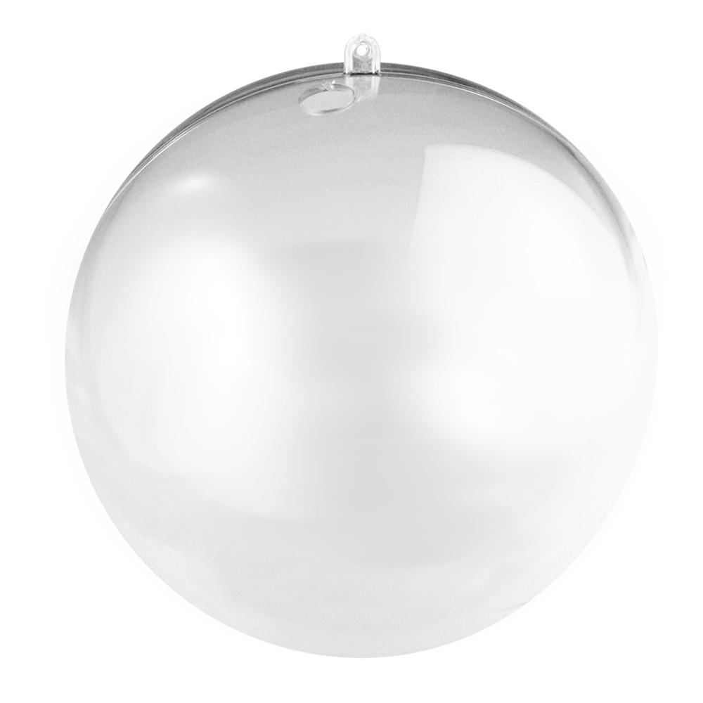 Plastik-Kugel, 2tlg., 8cm ø, kristall