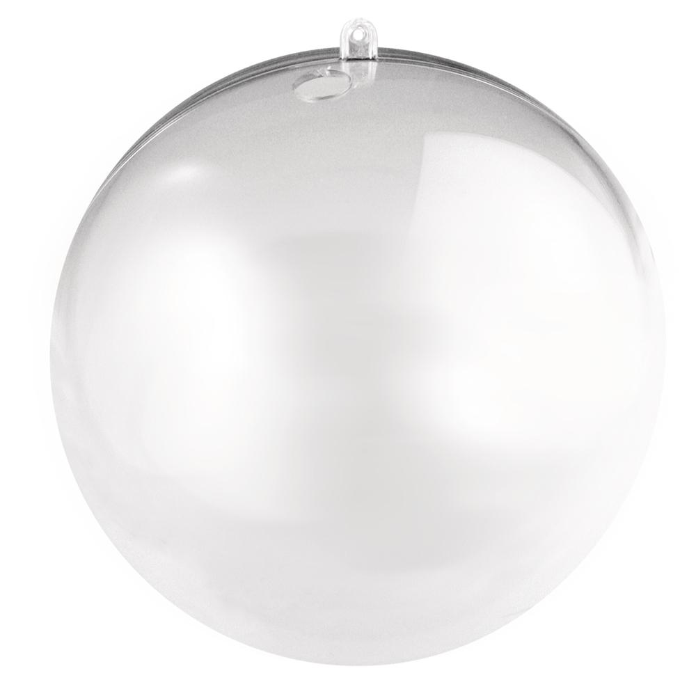 Plastik-Kugel, 2tlg., 12cm ø, kristall