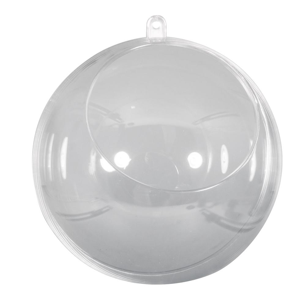 Plastik-Kugel, 2tlg., 12cm ø, mit Ausschnitt ø7,5cm, kristall