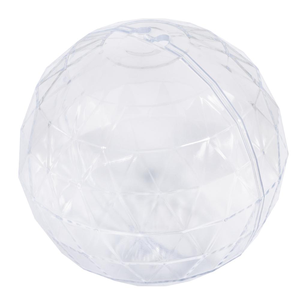 Plastik-Kugeln,facettiert,3er-Set, 8cm ø, Box 3Stück, kristall