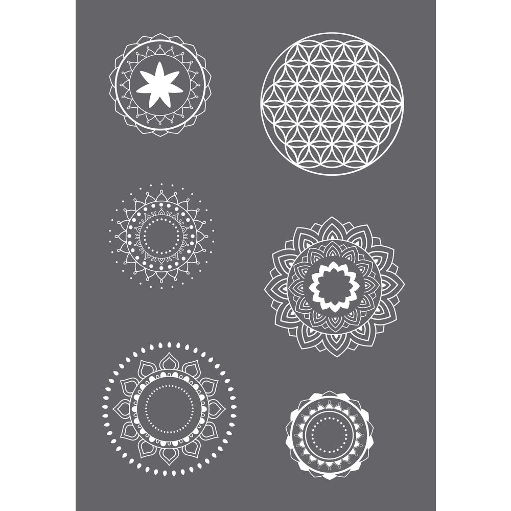 Siebdruck-Schablone Mandala A5, 1 Schablone+1 Rakel, SB-Btl