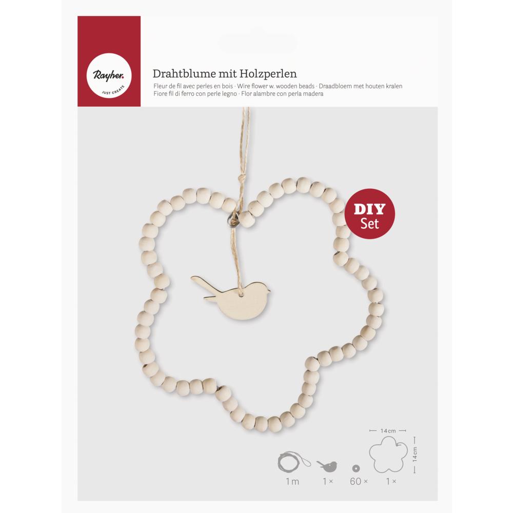 Bastelpackung: Drahtblume mit Holzperlen, 14cm ø, zum Hängen, SB-Btl