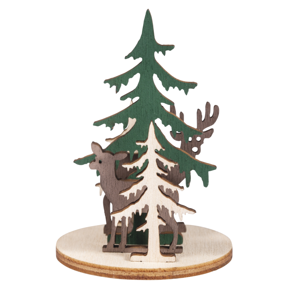 Holz-Steckteile Waldeslust, 4,5cm ø, 2 Motive, 3-6,5cm, SB-Btl