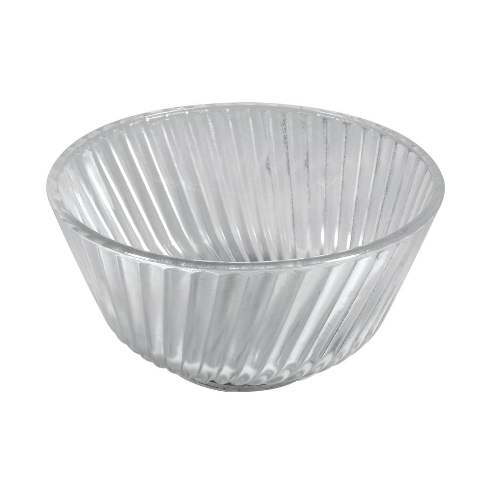 Glas Schale m. Rillen, 12,5cm ø, 7cm, Set 2Stück