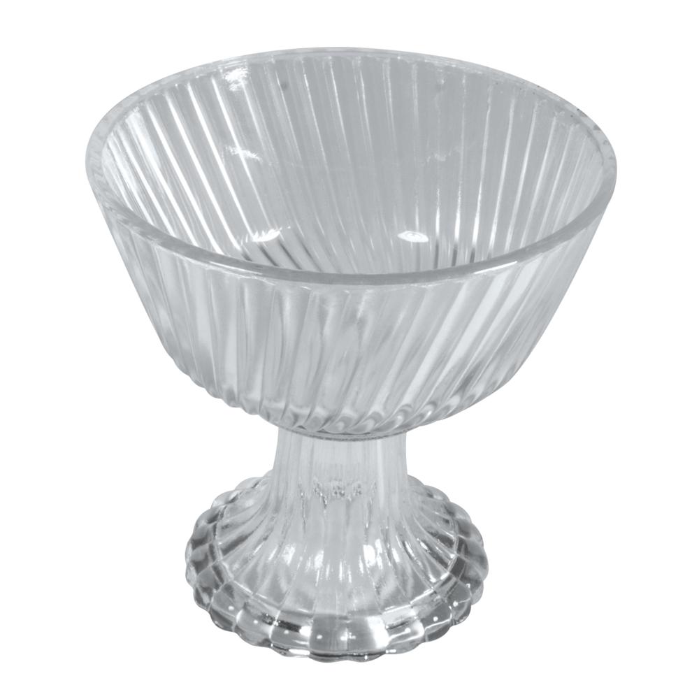 Glas Schale mit Fuß , gerillt, 12,5cm ø, 7cm, Fuß 6cm