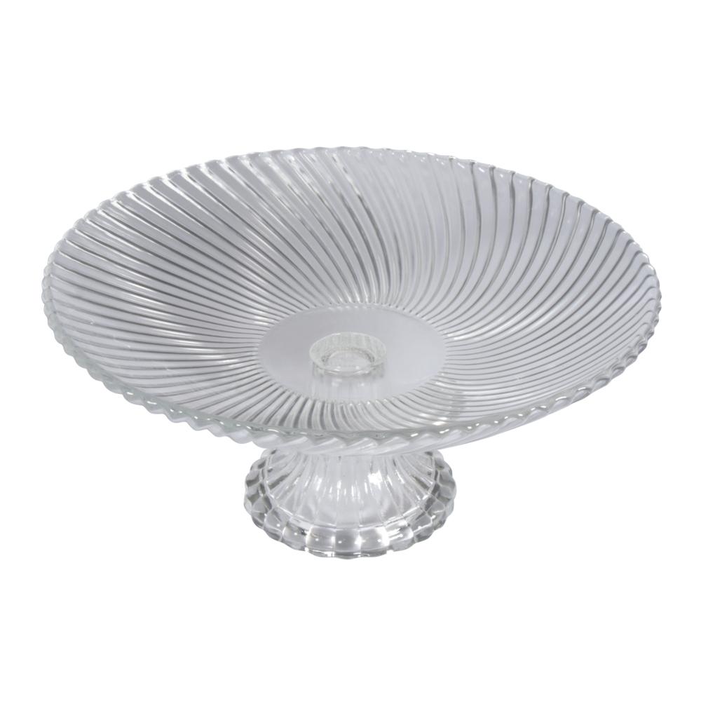 Glas Schale mit Fuß , gerillt, 21,2cm ø, 3,5cm, Fuß 6cm