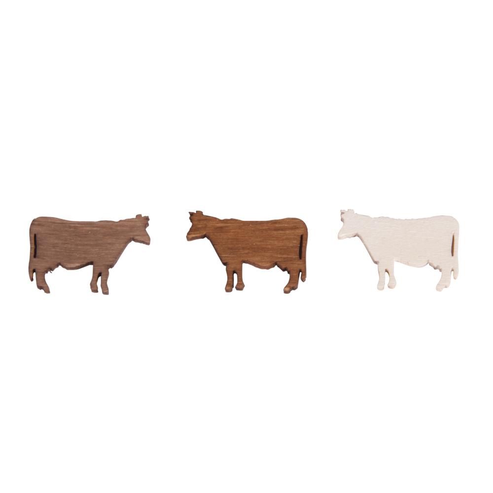 Holz-Streuteile Kühe, 2x1,2cm, SB-Btl 24Stück