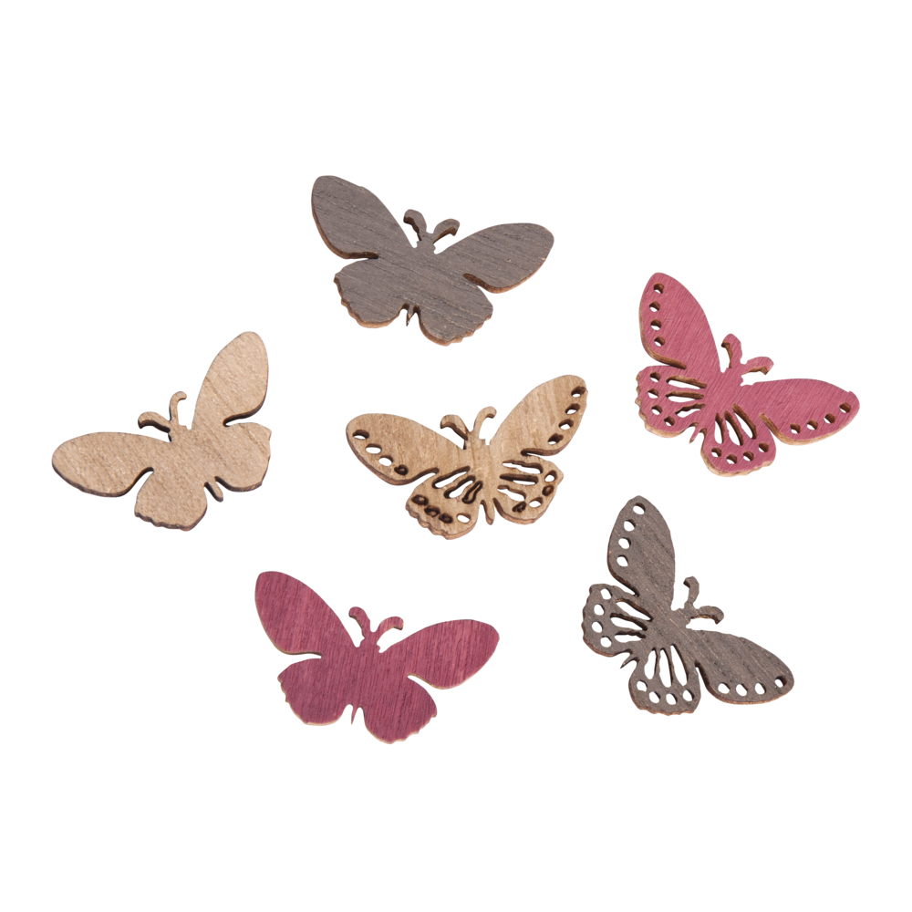 Holz-Streuteile Schmetterling, 2,5x1,2cm, SB-Btl 24Stück