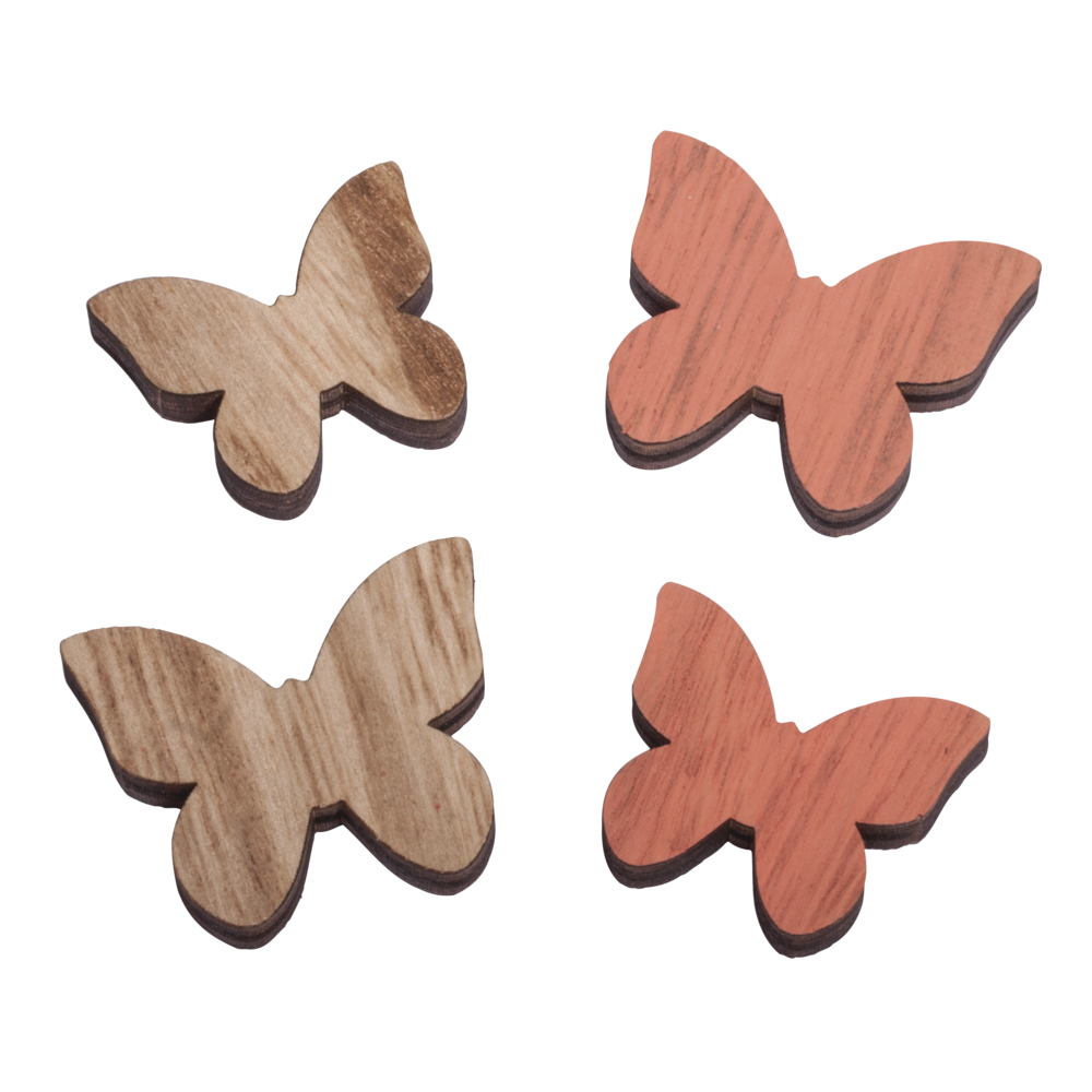 Holz Streuteile Schmetterling, Stärke 0,5cm, 3,5-4,2cm, SB-Btl 9Stück