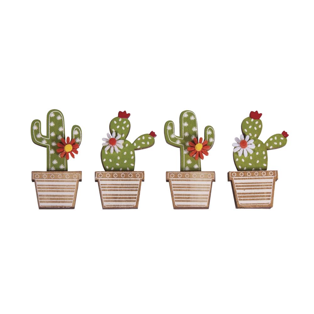 Holz Streuteile Kaktus, 3,1x6,5cm, mit Klebepunkt, SB-Btl 4Stück